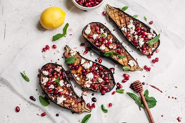 Roast Aubergine And Feta Cheese
