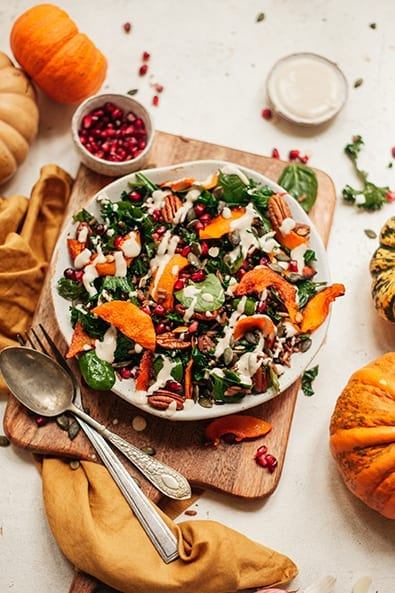 Roast Pumpkin Salad With Wilted Kale And Spinach recipe