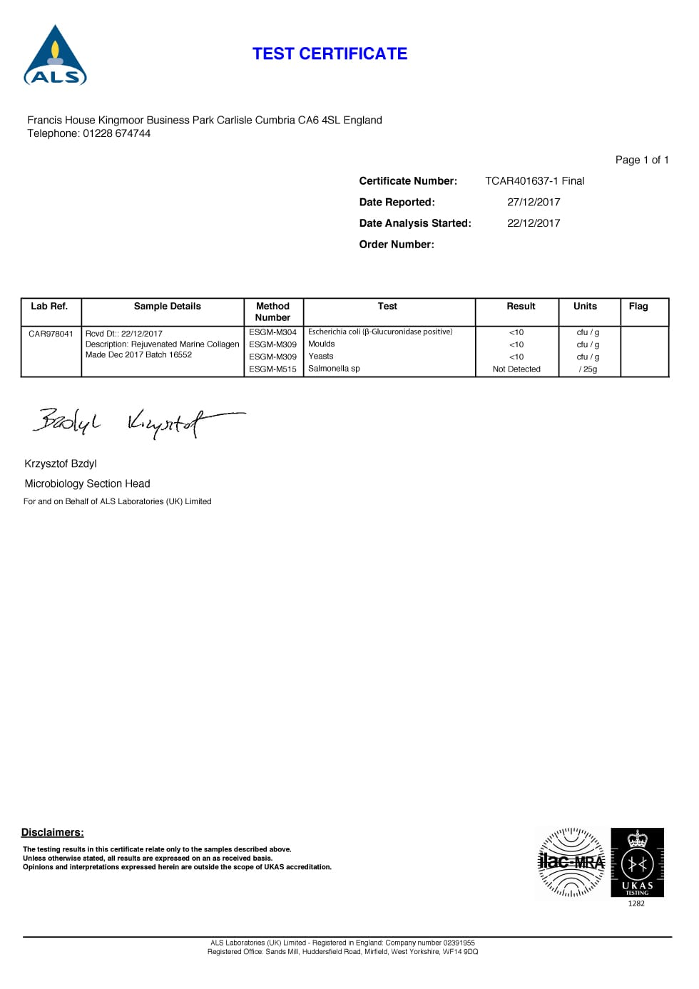 Collagen Shots Certificate of Analysis