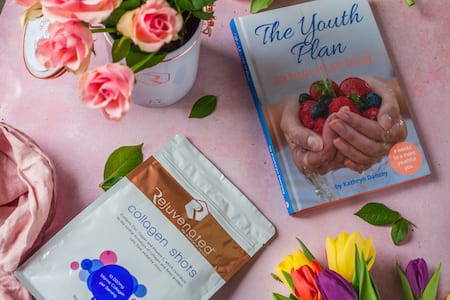 Youth Plan Book with Collagen Shots and Rejuvenated 15 Year Anniversary Tin