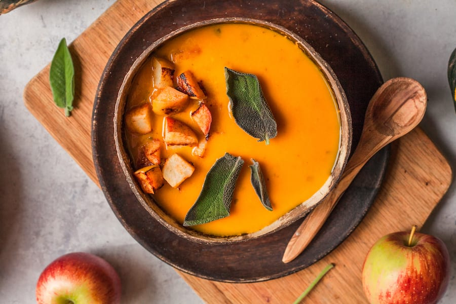 Roast butternut soup with baked apple and crispy sage