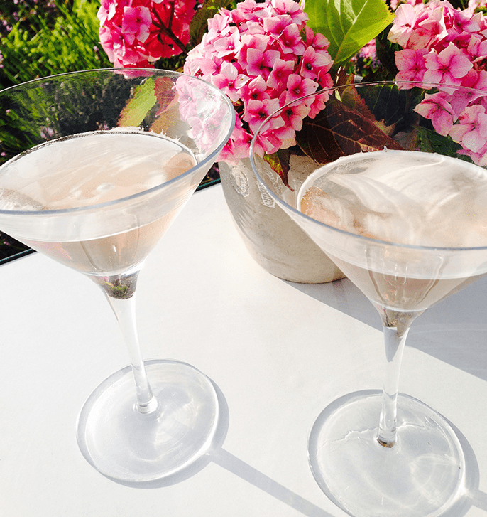 Collagen Shots in cocktail glasses