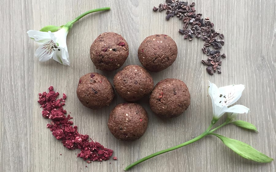 Chocolate protein balls with protein smoothie