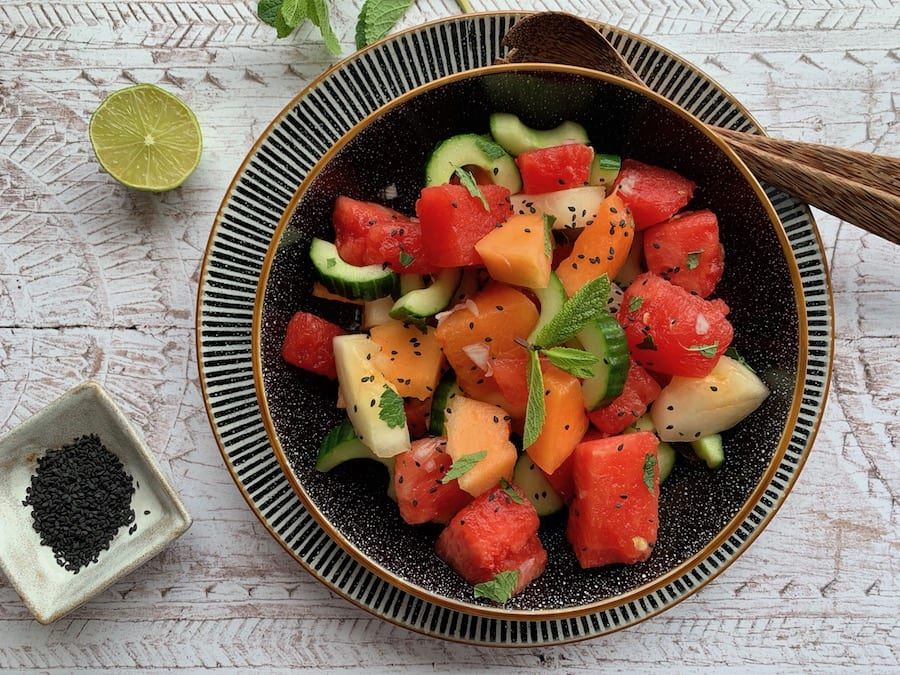 Asian watermelon and sesame salad