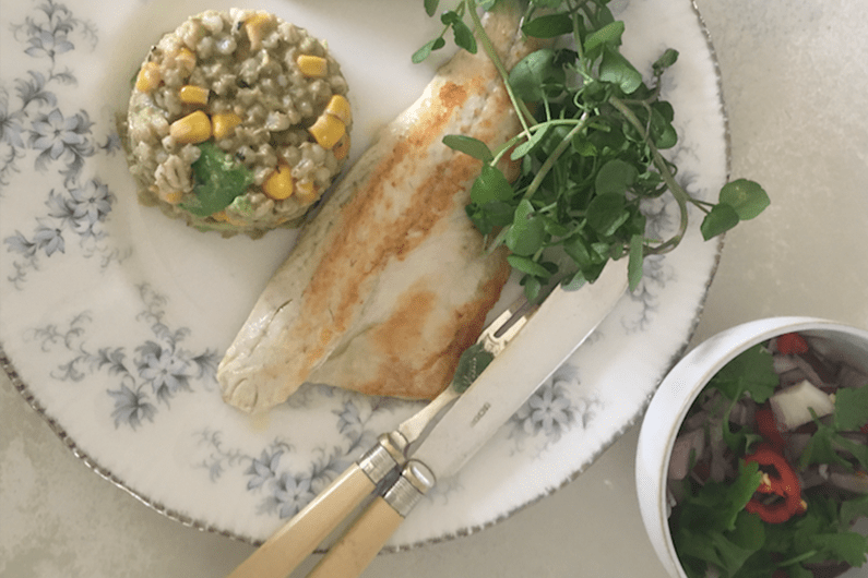 Pan fried sea bass with pearl barley and chilli recipe